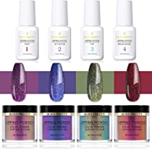 BORN PRETTY 10ml Dipping Chameleon Powder System Without Lamp Cure Natural Dry Mirror Effect Glitter 4 Box Powder with 4 Bottle System Liquid