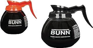 BUNN Coffee Pot Decanter/Carafe Regular Plus 1 Orange Decaf, 12 Cup Capacity, Black, Set of 2