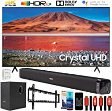 "$549 » Samsung UN55TU7000 55"" 4K Ultra HD Smart LED TV (2020 Model) Bundle with Deco Gear Home Theater Soundbar with Subwoofer and Complete Wall Mount Setup and Accessory Kit"