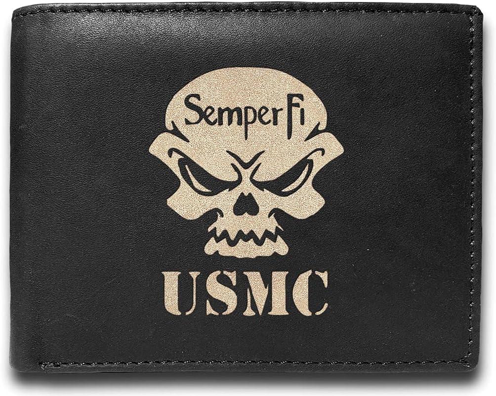 US Marine Corp Semper Fi USMC Genuine Cowhide Leather Laser Engraved Engraving Black Slimfold Mens Large Capacity Luxury Wallet Purse Minimalist Sleek and Slim Includes Card Holder Organizer 14 Pocket