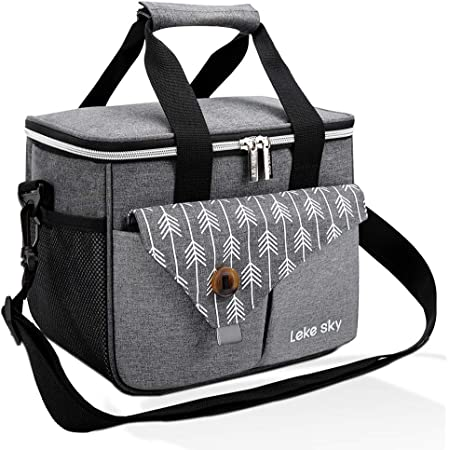 Lekesky Insulated Lunch Bag for Women and Men Water-Resistant Leakproof Thermal Picnic Bag for Women and Men,Insulated Bento Bag for Office/School/Picnic (Grey)