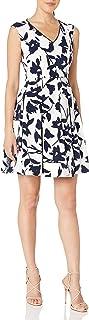 فستان لندن تايمز للنساء بأكمام قصيرة وياقة على شكل V مناسب وواسع