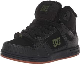 DC Boys' Pure HIGH-TOP WNT Skate Shoe, Black/Green, 6 M US Big Kid
