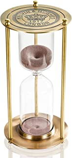 Hourglass Timer 60 Minute Sand Timer: Vintage Brass Sand Clock 60 Minutes, Unique 1 Hour Glass Sand Watch 60 Min for Home Desk Office Decorative, Large Antique Metal Decor Sandglass Timer