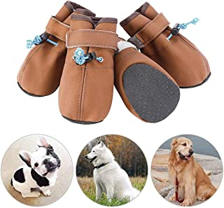 JATEN Dog Shoes, Waterproof Leather Dog Boots with Velcro Straps and Adjustable Fastening Straps, Soft Anti-Slip Sole Paw Protectors for Hot Pavement Hiking Running