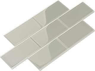 Giorbello Glass Subway Backsplash Tile, 3 x 6, Light Gray, 2 Sq Ft