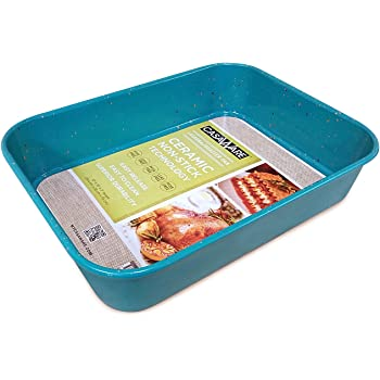 casaWare Ceramic Coated NonStick Lasagna/Roaster Pan 13 x 10 x 3-Inch (Blue Granite)