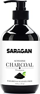 Saragan Pure Activated Charcoal Shampoo – Best Sulfate Free, Daily All Natural Clarifying Shampoo for Healthy Hair and Cleansing Scalp Treatment – With Keratin, Argan Oil and Jojoba Oil