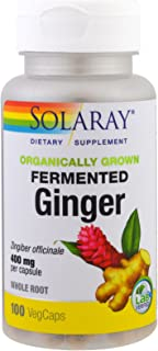 Solaray Organically Grown Fermented Ginger Root Root Organic, Veg Cap (Btl-Plastic) 400mg | 100ct