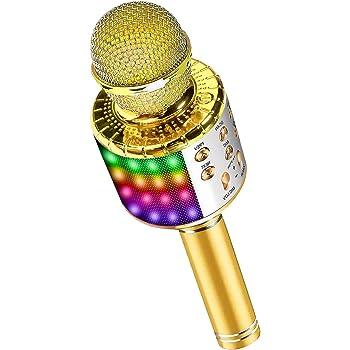 DY_Jin Micrófono inalámbrico de Karaoke Bluetooth 4 en 1 con Luces LED, portátil de Mano para niños, Reproductor KTV doméstico con función de grabación (Gold)