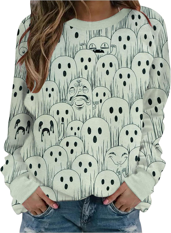 AODONG Halloween Sweatshirts for Women, Womens Loose Long Sleeve Cute Pumpkin Printed Oversized Shirts Pullover Tops