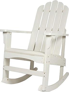 Shine Company 4699EW Marina II Porch Rocker with Hydro-TEX Finish, Eggshell White Rocking Adirondack Chair