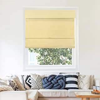 Chicology Cordless Magnetic Roman Shades / Window Blind Fabric Curtain Drape, Thermal, Light Filtering - Mountain Almond, 27