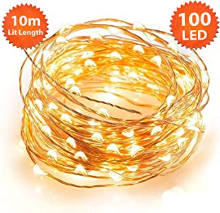 ANSIO Micro Fairy Lights 100 LED 10m Warm White Indoor Christmas Lights Festive Wedding Bedroom Novelty Decorations Tree String Lights Mains Powered 32ft Lit Length 3m/9ft Lead Wire Copper Cable