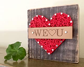 Sweet & small We love you heart gift sign. String art gift for the home or office. Great Congratulations gift.