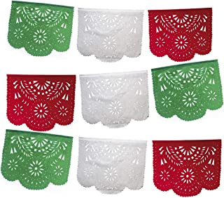 Fiesta Brands Mexican Papel Picado Banner.Tri Color.Green White and Red Vibrant Colors