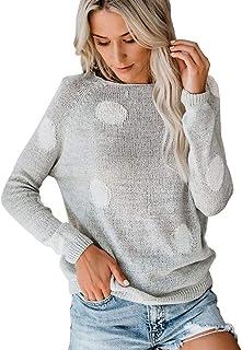 Abrigos Mujer Invierno Rebajas Desigual Sudaderas Tumblr Adolescentes Chicas Jersey Mujer otoño 2019 Jersey Lana Mujer Invierno Colores Jersey de Cuello Redondo con Estampado de Lunares