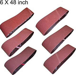 M-jump 6-Inch x 48-Inch Aluminum Oxide Sanding Belt,6-Pack(One Each of 60 80 120 150 240 400 Grits) (6x48in)
