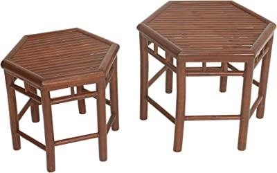 Statra Living Room End Table Seating Side Coffee Chair Bedroom Bamboo Set of 2, Espresso