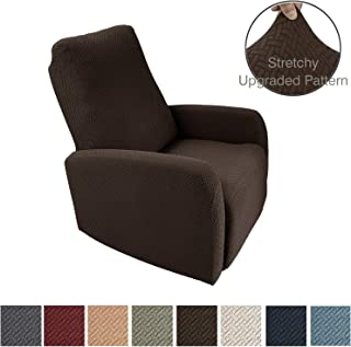 Obytex 4 Pieces Stretch Recliner Chair Cover Polyester and Spandex Upgrade Pattern Couch Covers Dog Cat Pet Slipcovers Furniture Protectors,Machine Washable (Recliner, Brown)