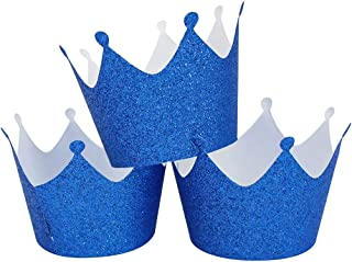 Mybbshower Crown Cake Paper Cups Liner Glitter Blue Cupcake Wrappers Muffin Holder Case Baking Cup for Wedding Birthday Party Baby Girl Shower Decoration Pack of 36