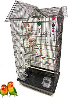 37-Inch Portable Double Roof Top Hanging Flight Bird Cage with Playing Toys for Small Parrot Cockatiel Sun Quaker Parakeet Green Cheek Conure Parrotlet Finch Canary Budgie Lovebird Travel Bird Cage