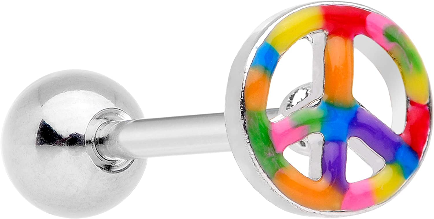Body Candy 316L Stainless Steel Hippie Rainbow Peace Sign Straight Barbell Tongue Ring Body Piercing Jewelry