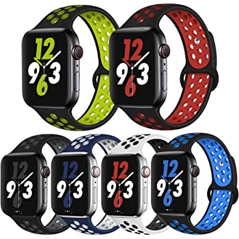 OriBear Compatible for Apple Watch Band 44mm Series 4/5/6, Breathable Sporty for iWatch Bands Series 42mm 3/2/1, Various styles and colors for Women and Men(M/L,6 Pack B)