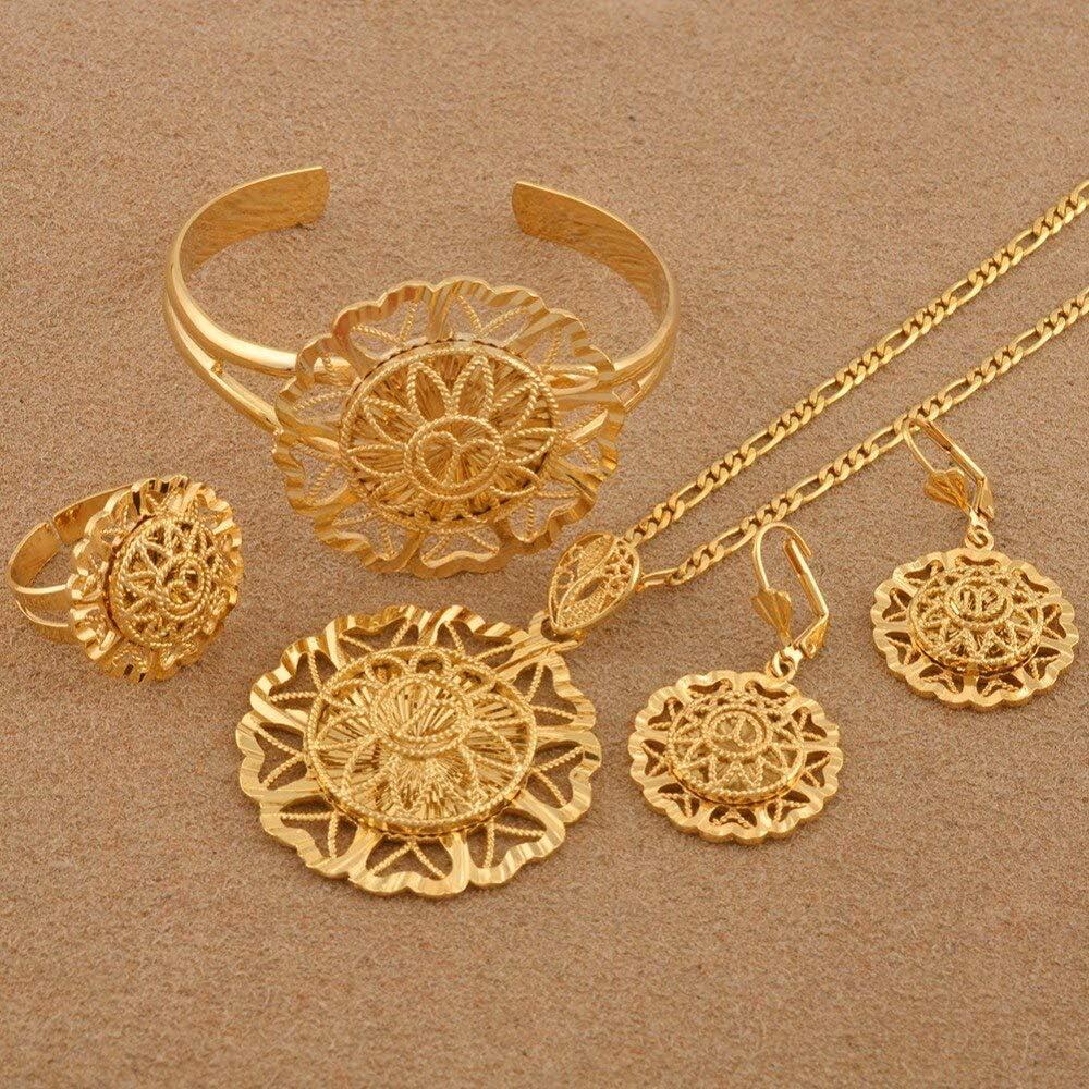 Dubai Jewelry Sets African Pendant Necklaces Earrings Bangle Rings Arabian Jewellery Bride Wedding