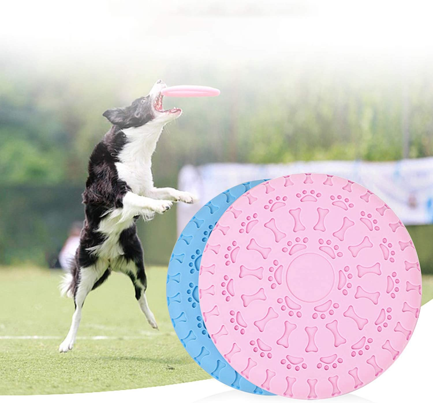 Dog Flying Disc Toy,Funny Dog Feeder Toy Dual-use Durable Rubber Training Pet Chew Toy for Outdoor Indoor Pet Flying Saucer Dog Feeder Exercising Throwing Flying Disc Fetch Toy Indestructible Dog Toys