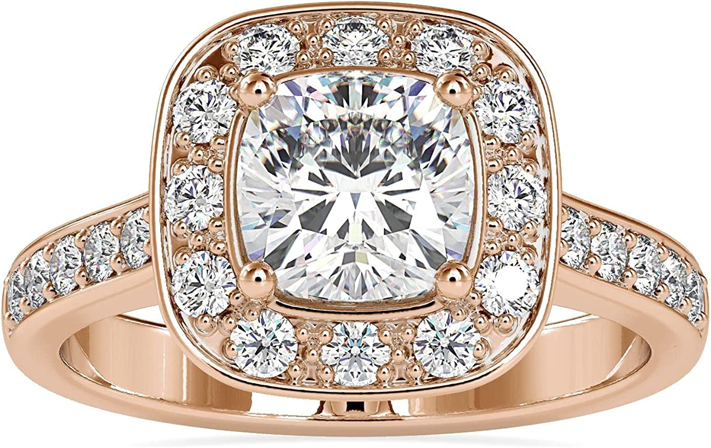 Candeo Diamonds 14K Gold Eavan 1 Store year warranty Diamond Carat Ring Cushion With