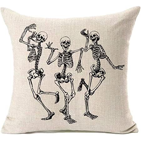 Mfgneh Halloween Skull Pillow Covers Home Decor Cotton Linen Sofa Throw Pillow Case Cushion Cover 18 X 18 Home Kitchen