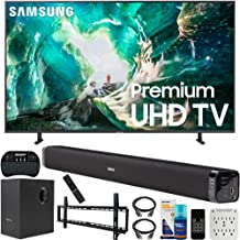 Samsung UN75RU8000 75-inch RU8000 LED Smart 4K UHD TV (2019) Bundle with Deco Gear Soundbar with Subwoofer, Wall Mount Kit, Deco Gear Wireless Keyboard, Cleaning Kit and 6-Outlet Surge Adapter