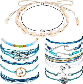 Hicarer 14 Pieces Shell Necklace Choker Boho Braided Rope Bracelets Waterproof Handmade Bracelets for Women Girls