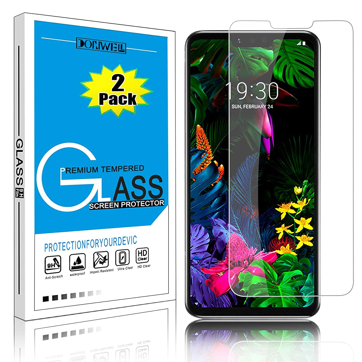 [2 Pack] LG G8 ThinQ Screen Protector, DONWELL LG G8 Ultra Clear Anti-Fingerprint Anti-Scratch Bubble-Free Tempered Glass Screen Protector for LG G8 / LG G8 ThinQ/LG G820 / LG Alpha (2 Pack)