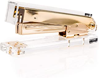 Premium Ultra Clear Acrylic Gold Modern Looking Stapler by Sirmedal