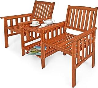 Deuba Banco de madera de acacia para 2 personas sillas con mesita de té 2 niveles de almacenamiento exterior jardín balcón