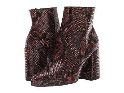 Steve Madden Therese Block Heel Bootie (Brown Snake) Women