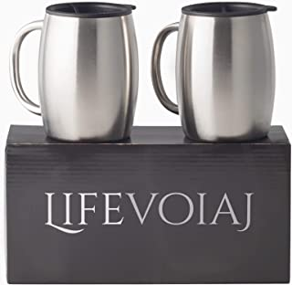 Insulated Stainless Steel Coffee Mug By Life Voiaj - Double Wall tumbler set with Handle - Spill resistant BPA Free Lids And Dishwasher Safe - Light Weight And Durable Cup to prevent Heat Loss