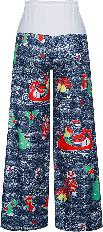 MQQM Christmas Pattern Women Trousers Loose Wide-Leg Girls Pants Casual