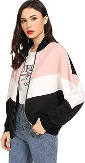 SweatyRocks Women's Colorful Splash Printing Zip Up Windbreaker Jacket with Hood
