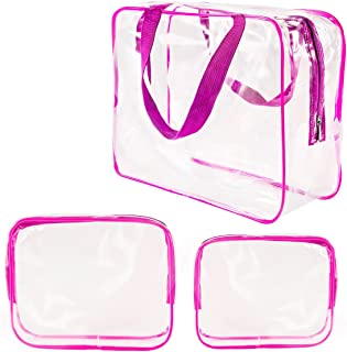 3Pcs Clear Cosmetic Bag Air Travel Plastic Toiletry Pouch, Water Resistant Packing Cubes with Zipper Closure & Carrying handles for Women Baby Men, Make-up brush Case Beach Pool Spa Gym Bags Hot Pink
