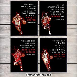 Michael Jordan Basketball Wall Decor - 8x10 Inspirational Quotes - Wall Art, Office Decoration for Men, Boys Bedroom, Dorm - Motivational Gift for Chicago Bulls Fan - Unframed Poster Prints Set
