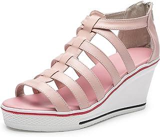 MEWOW Women's High Heel Platform Classic Gladiator Shoe Trainer Peep Toe Sandals