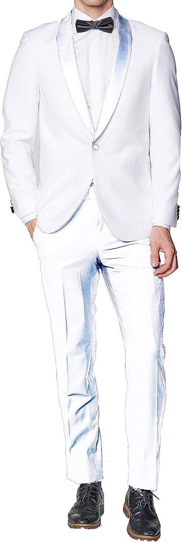 New Men's 1 Button White Shawl Collar Tuxedo Suit