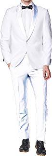 New Mens Classic One Button White Tuxedo Dinner Jacket with Shawl