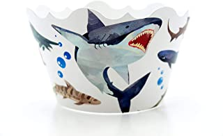 Shark Birthday Party Supplies Cupcake Wrappers (12 Pack) - Shark Cupcake Decorations for Pirate Birthday, Summer Pool Party Ideas, Sea/Ocean Shark Attack Party Favors