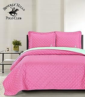Beverly Hills Polo Club Phlox Pink/Yucca Ultrasonic Reversible Microfiber Quilt Set, King, 3 Piece