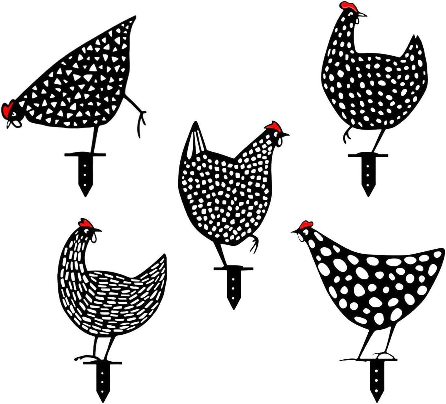 Thermohealth Divertida decoraci/ón de jard/ín 5 unidades 5 unidades gallo y gallina figuras de jard/ín para exteriores enanos de jard/ín decoraci/ón para exteriores