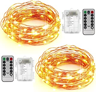 AYG 50 LED String Lights 16.4ft With Remote Control|Dimmable&Bright Lights With Over Current Protection | For Indoors,Outdoors,Weddings,Home Décor,Garden,Patio,Bedroom&More2-Pack (Warm White 5M)